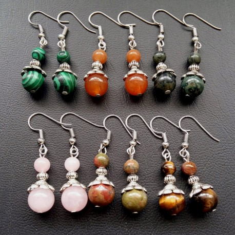 Beautiful Tibet Silver & natural stone or crystal Earrings
