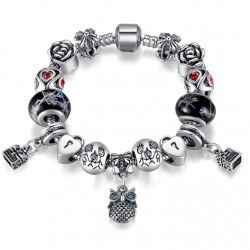 Owl Charm Bracelet with Tibetan Silver and Murano Glass