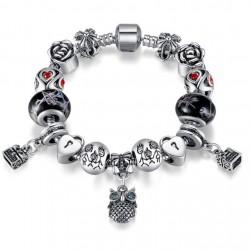 Owl Charm Bracelet Tibetan Silver Murano Glass