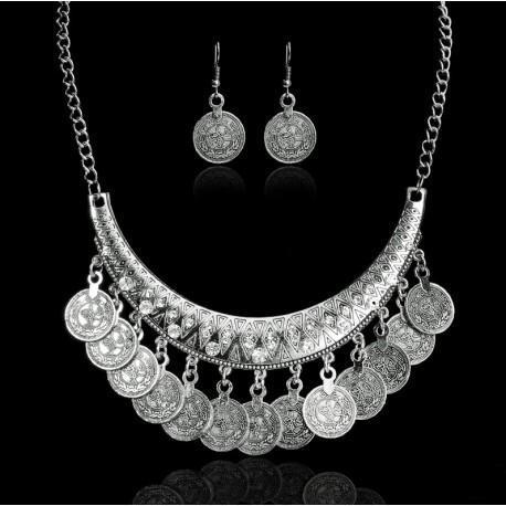 Boho Vintage Coin Tassel Necklace Earrings Set