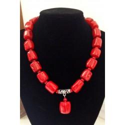 Collar Cilindro de Coral rojo natural