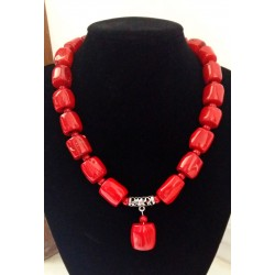 Red Cylinder Natural Coral Necklace