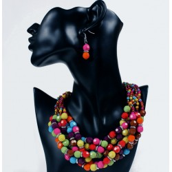 Resin Bead Necklace Earrings Set Serengeti
