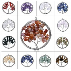 Tree of Life Wire Wrapped Chip Semi Precious Stone Pendant