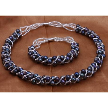 Natural Freshwater Black Pearl jewelry set