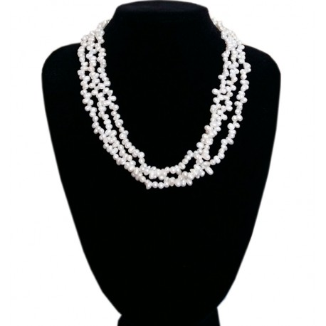 6bbd33788c3807 White Freshwater Pearl Short Multi Layer Necklace - bisuteriashop.com
