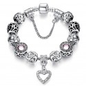 Silver Plated Murano Glass Beads Charms Bracelet