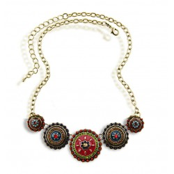 Hippie Style Necklace with Handmade Painted Pendants