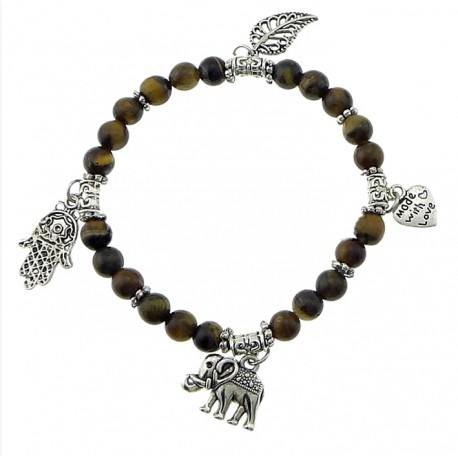 Elastic Tiger Eye stone bracelet with Tibetan silver charms