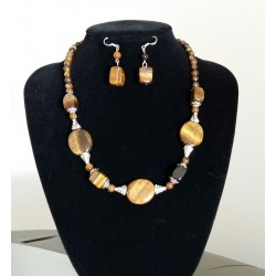 Natural Tiger Eye jewelry set necklace with earrings