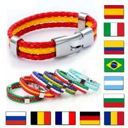 National Flags PU Leather Bracelets