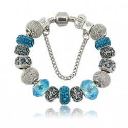 European style bracelets with charms-different colours