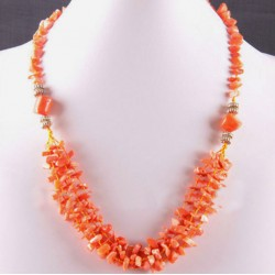 Natural Orange Coral Beads Necklace