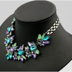 uxury Crystal Flower Statement Necklace