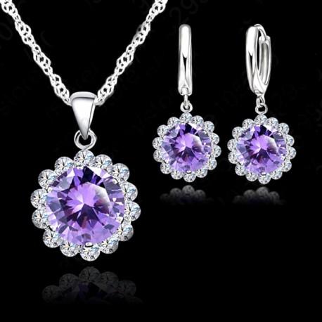 Silver Cubic Zircon Necklace Pendant/Earrings set
