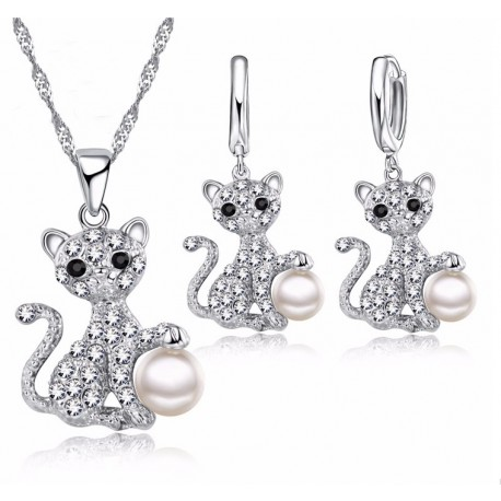 Cat Pendant Necklace + Earrings Set 925 Sterling Silver & Pearl