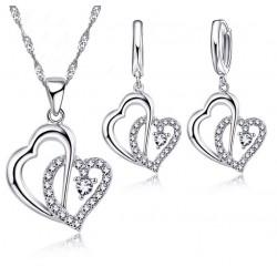 Conjunto Collar y Pendientes Doble Corazón