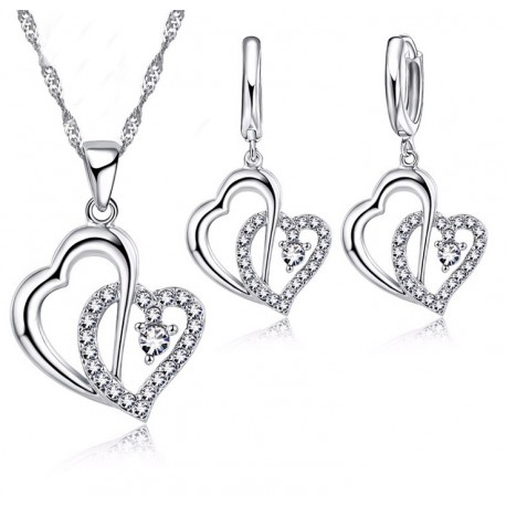 Double Heart Necklace and Earrings set