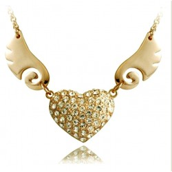 Romantic Angel Wings Heart crystal necklace