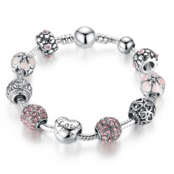 Bracelet with Love and Pink Flower Charms