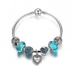 Silver Plated Heart Pendant Bracelet with Blue Beads