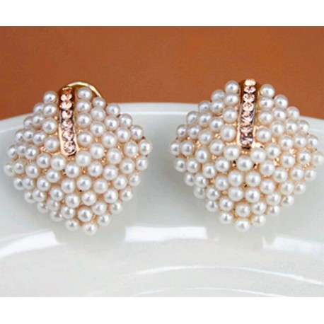 Stud Earrings with Pearls and Crystals