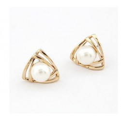 Triangle white pearl stud earrings