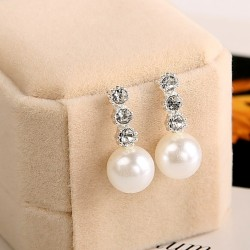 Pearl Earrings with 3 Crystals