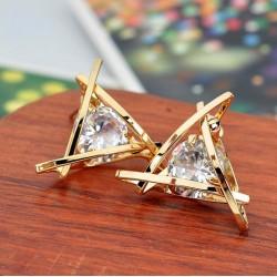 Pendientes triángulos con cristal