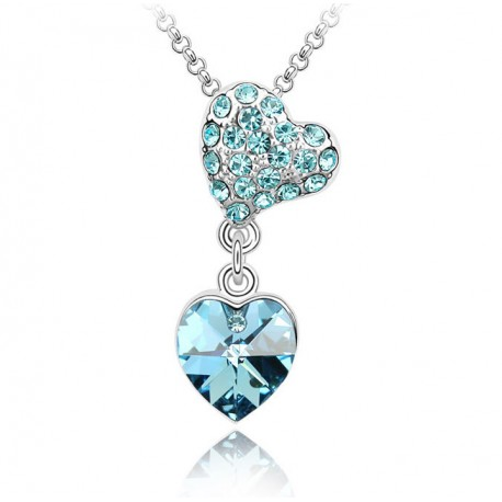 Double Heart Crystal Necklace