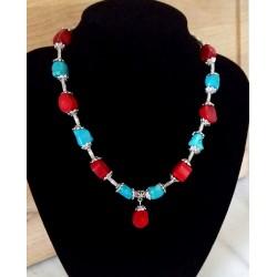Collar con Coral Rojo y Turquesa natural y plata Tibetana