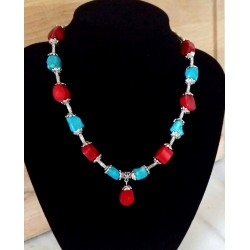 Turquoise and Red Coral Necklace with Tibet silver