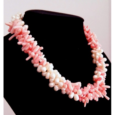 White Freshwater Pearl & Pink Coral Necklace