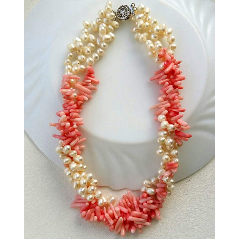 Freshwater Pearl And Pink Coral Necklace