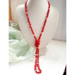Collar largo con Coral Rojo y Perlas naturales