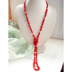 Red Coral and White Freshwater Pearl necklace