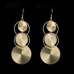 Round Long Drop Earrings