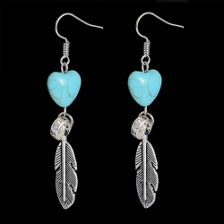 Turquoise Heart Long Drop Earring With Tibetan Silver Metal Feather
