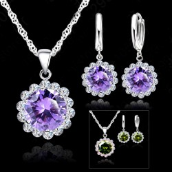 Silver Cubic Zircon Necklace Pendant/Earrings set