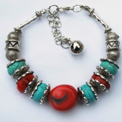 Tibetan Silver Bracelet with natural Turquoise Red Coral Bead