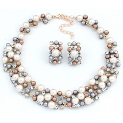 Necklace and Earrings Set With Acrylic Pearls