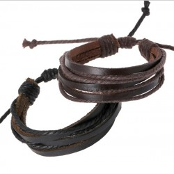 Leather and Rope Wrap Bracelet