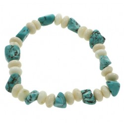 Natural White Coral and Turquoise Bracelet
