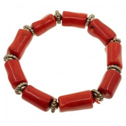 Natural Red Coral Bracelet with Tibetan Silver