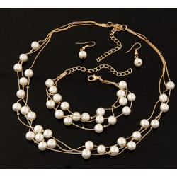Imitation Pearl Jewelry Necklace/Bracelet/Earrings Set