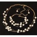 Imitation Pearl Jewelry Necklace/Bracelet/Earrings Set