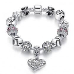 "European charms Bracelet with charms ""Family"" and Crystal Heart"
