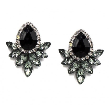 Black Gray Rhinestone Stud Earrings