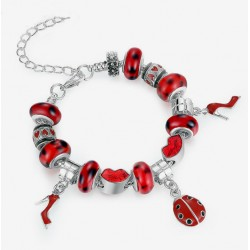 European Style Bracelet with Red Charms and Murano Glass Beads