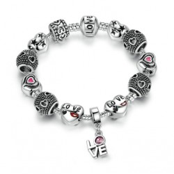 European Pink Charm Bracelet with Pendant LOVE